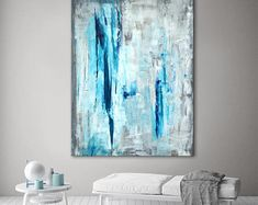 I really like this! Modern Wall Art, Modern Rugs, Contemporary Art, Blue Canvas, Canvas Wall Art, Teal Art, Blue Abstract, Master Bedroom, Art Pieces