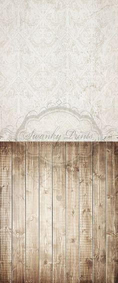 Grunge Vintage Damask & Brown Washed Wood - Oz Backdrops and Props