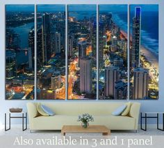 Australia Wall Art Queensland Canvas Print Skyscrapers Modern Art City at Night Art Futuristic Cityscape Print Australia Canvas by ArtWog Water Color World Map, Wall Murals, Wall Art, Push Pin World Map, Canvas Art, Canvas Prints, Office Wall Decor, Night City, Rest Of The World