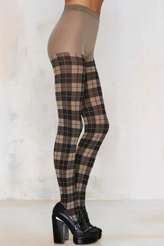 Plaid it Up Tights - Beige - Accessories | Socks + Legwear | Gifts Under $50 | Stocking Stuffers | Cold Weather Gear | Accessories | All