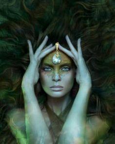 The Enchanted Forest / Modern Fairytale / Moon Goddess. Photoshop, Magical Forest, Moon Goddess, Earth Goddess, Green Goddess, Merfolk, Divine Feminine, Sacred Feminine, Gods And Goddesses