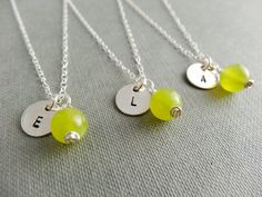 Personalised olive Jade necklace perfect for bridesmaid gifts. Sterling silver hand stamped charm.