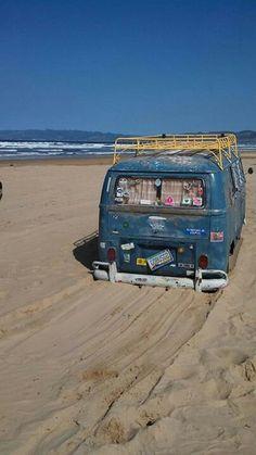 Beach, Dove Blue VW Bus