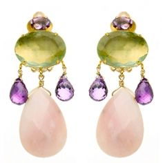 Fluorite Amethyst and Rose Quartz Earring  Price: $465.00