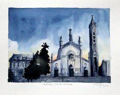 Catedral Santa Teresa - Caxias do Sul / RS - Aquarela sobre papel Hahnemuhle Cezanne 24 x 32cm