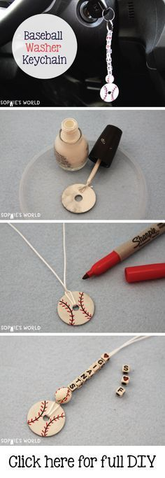 Baseball Washer keychain- can also be made into a basketball, soccer ball, etc. using different color nail polish Washer keychain- can also be made into a basketball, soccer ball, etc. using different color nail polish. Baseball Party, Baseball Birthday, Baseball Mom, Baseball Gear, Softball Mom, Baseball Stuff, Baseball Season, Baseball Jewelry, Softball Cheers