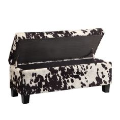 Buy Storage Ottoman Bench Cowhide Print Fabric Lift Top Western Ranch Seat Rectangle at online store