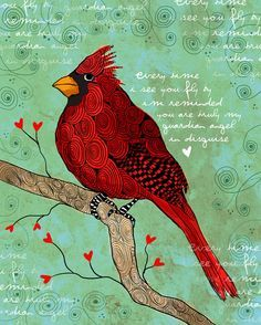 Guardian In Disguise / Male Cardinal / original illustration ART Print SIGNED / 8 x 10 / NEW on Etsy, $20.00