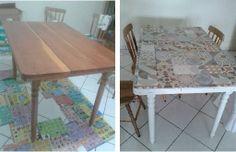 Reforma de mesa de madeira com pintura e colagem de azulejos. A mesa é antiga e eu queria continuar com ela. Então pintei a parte de baixo na cor branco gelo e colei os azulejos com silicone (chamei um pedreiro em casa para cortar pra mim as peças de azulejo). Agora só faltam as cadeiras: vou fazer capas de tecido até o chão.