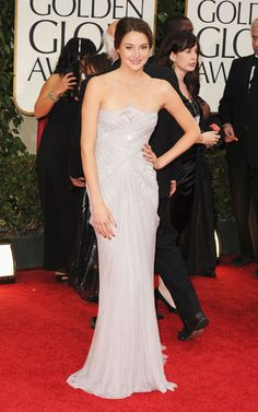 """Another """"Young Hollywood"""" acolyte, one of the night's nominees, Shailene Woodley, is lovely in light purple Marchesa with Tabitha Simmons shoes."""