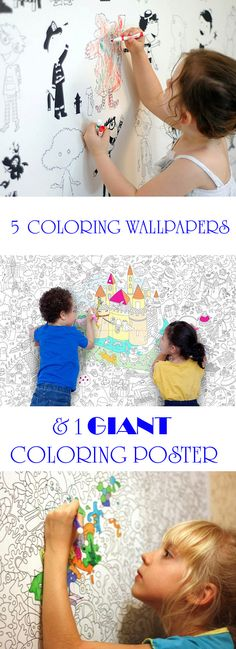 5 coloring wallpapers and 1 GIANT coloring poster for kids. Use them for kid's bedroom, playroom or basement. Fun indoor activity- at Non Toy Gifts