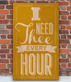 "A gentle reminder that we all need Him, every hour of every day. A vintage wooden sign inspired by scripture. ""I Need Thee Every Hour"" www.WordsOnWood.com #signs #wooden #woodensign #signswithquotes #typography #rustics #vintage #chalkboardsigns #chalkboardtypography"