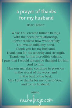 A Prayer of THANKS For My Husband #marriage