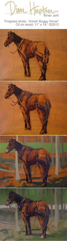 """Amish Buggy Horse"" by Diane Hoeptner, Oil on wood, 14"" x 11,"" $395.  Available http://dianehoeptner.blogspot.com/2013/05/amish-buggy-horse-painting-by-diane.html"