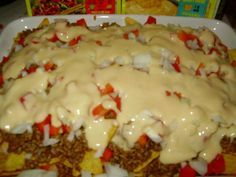 Nachot Nautiskeluun Cheddar, Food And Drink, Pudding, Beef, Chicken, Desserts, Recipes, Meat, Tailgate Desserts
