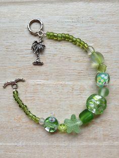 Palm Tree Bracelet, Green Glass Beaded Bracelet with Palm Tree Charm