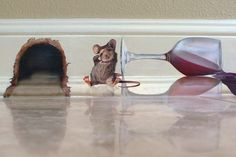 Mural of a little mouse who drank too much from a spilled glass of wine, Mural is located in a guest house in Lido Shores, FLorida, on the baseboard trim. Totally hungover, the little guy sits by his mouse hole and holds his aching head. Faux Painting, Mural Painting, Mural Art, Wall Murals, Wall Art, Wall Decor, Mouse Hole, Baseboards, Baseboard Trim