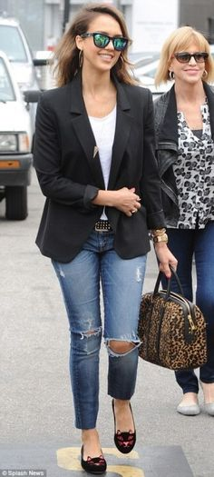 Jessica Alba wearing A.L.C. Lucas Leopard Duffle Satchel, Westward Leaning N 9.1 Color Revolution Sunglasses, Charlotte Olympia X Tom Bins Anarchy Kitty Embroidered Velvet Flats and 7 For All Mankind Slim Cigarette Jeans in Destroyed Rue De Lille.