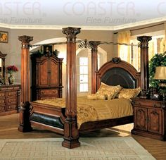 Traditional Solid Wood Canopy Bed w Bicast Leather Accents & Carved Finials