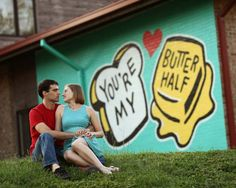 Alana and Michael's Bright and Happy E-session Around Street Art-filled East Austin