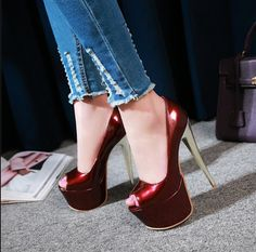 All Size Womens Stiletto High Heel Sandals Opentoe Pumps Sexy Platform Shoes Sexy High Heels, Extreme High Heels, Super High Heels, Platform Stilettos, Stiletto Pumps, High Heels Stilettos, Platform Shoes, Ankle Strap Shoes, Peep Toe Shoes
