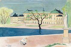 Einar Jolin - Drottningholm 1956 John Bauer, Perspective Art, Vanishing Point, Henri Matisse, Urban Landscape, Art School, Architecture Art, Painters, Norway