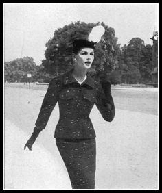 Georgia Hamilton in tweed suit by Balenciaga, Harper's Bazaar, October 1953