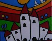 """peinture contemporaine """" LA TERRE EST RONDE !!!!"""" acrylique sur toile : Peintures par danyrocherleroi"""