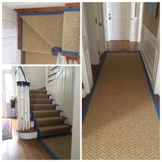 Just installed!  Natural sisal, Montana in color sea grass was expertly fabricated with 5 wide cotton/sky blue and installed in a client's lower hall, staircase & upper hall for NYC based design firm, Kemble Interiors. @Kemble_interiors #chatham #capecod (scheduled via http://www.tailwindapp.com?utm_source=pinterest&utm_medium=twpin&utm_content=post91837389&utm_campaign=scheduler_attribution)