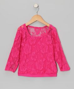 Hot Pink Lace Long-Sleeve Tee & Camisole