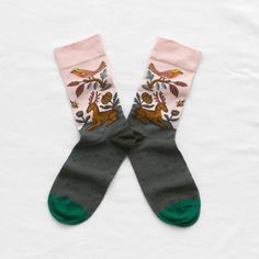 Patterned calf length socks by Bonne Maison. Material: 90% Cotton, 8% Polyamid, 2% Elastane. Care: Machine washable to 30 degrees....