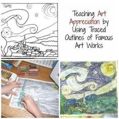 A homeschool blogger who uses the Charlotte Mason approach, Practical Pages,teaches art appreciation by creating traced line drawings of famous artists' works.  Using tracing paper, she crea…
