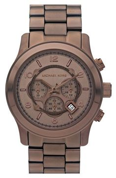 Michael Kors 'Large Espresso Runway' watch $250. My husband loves watches...I love anything in a deep rich brown color!
