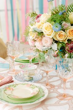 Vintage pastel themed #wedding tablescape | City Love Photography | see more on: http://burnettsboards.com/2014/04/pastel-mint-gold-wedding-ideas/