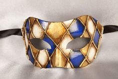 Mens Masquerade Masks in blue and gold - COLOMBINA ROMBI