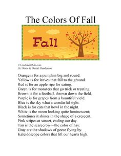Classroom Freebies: The Colors of Fall