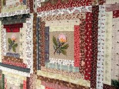 "Pour l'Amour du Fil 2013 - ""Les petits bonheurs de Miss T"" Log Cabin Patchwork, Log Cabin Quilts, Édredons Cabin Log, Scrappy Quilts, Pretty Patterns, Square Quilt, Logs, Shadow Box, Textile Design"
