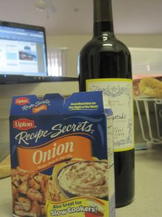 Onion soup mix + red wine + soy sauce + garlic + pork loin