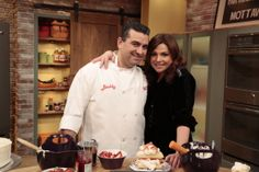 Buddy and Rachael Ray making Strawberry Napoleons from Family Celebrations with the Cake Boss!