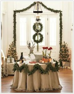 Burlap Tableskirt From Eye For Design: From The Barn To The Manor.....Decorating With Burlap