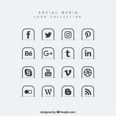 Colección de iconos de medios sociales  Vector Gratis