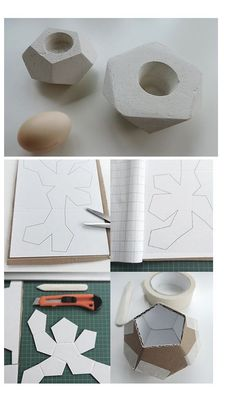 Gipsgießform aus altem Karton / Mould for cement art made of old cardboard / Upcycling