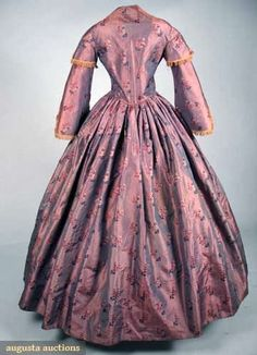 FLORAL SILK BROCADE DAY DRESS, 1850s       Two-piece lavender-pink shot silk brocaded w/ scattered bouquets of ...