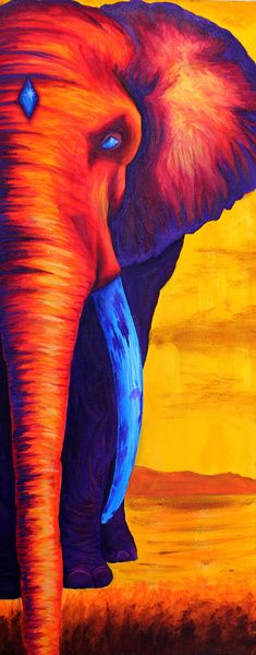 Sunset Elephant Art Print / regalo pal flaco!