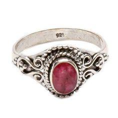 Rubín prsten stříbro Ag 925 LU 77