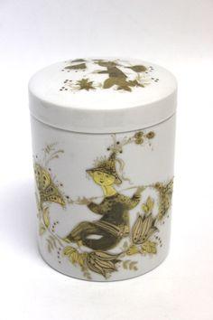Porzellan Deckeldose der Marke Rosenthal  Motiv Quatre Couleurs Design by Björn Wiinblad Abmessung ca. H=13 cm D=9,5 cm Sehr guter gebrauchter Zustand