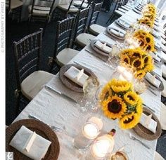 best wedding ideas: Ideas for Yellow Wedding Centerpieces: Creative, Crafty, Clever and Chic! Yellow Wedding, Fall Wedding, Dream Wedding, Tuscan Wedding, Wedding Country, Trendy Wedding, Rustic Wedding, Sunflower Wedding Centerpieces, Sunflower Weddings
