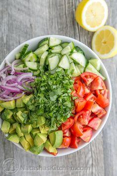 This Cucumber Tomato Avocado Salad recipe is a keeper!  Easy, Excellent Salad | NatashasKitchen.com
