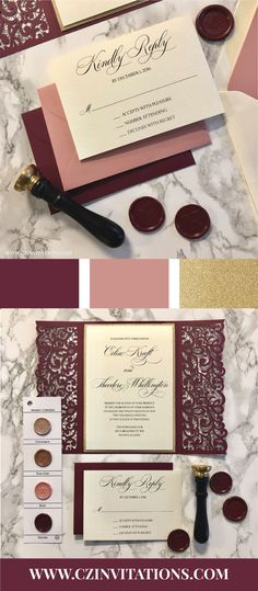 Burgundy and Dusty Pink Lace Laser cute wedding invitation! Perfect for formal wedding invitations. These invites are available in DIY or assembled, perfect for any wedding budget or bride.   burgundy wedding, Burgandy wedding, laser cut wedding, laser invitations, wedding invite