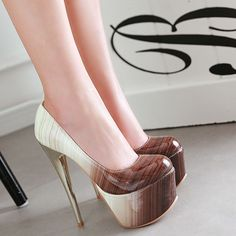 Shoespie Gorgeous Gradually Changing Color Platform Heels